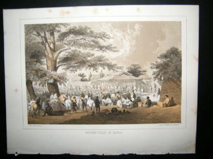 Japan Perry Expedition 1856 Antique Print. Market Place At Napha | Albion Prints